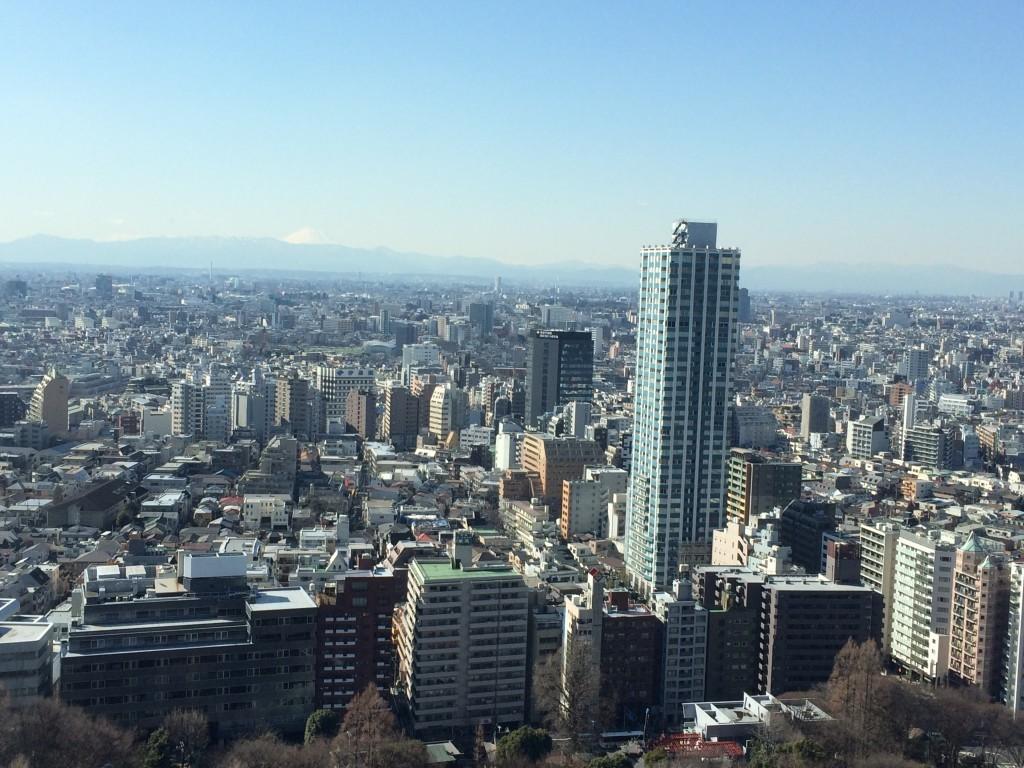 Z wieżowców na Shinjuku w słoneczny i przejrzysty dzień widać wulkan Fuji