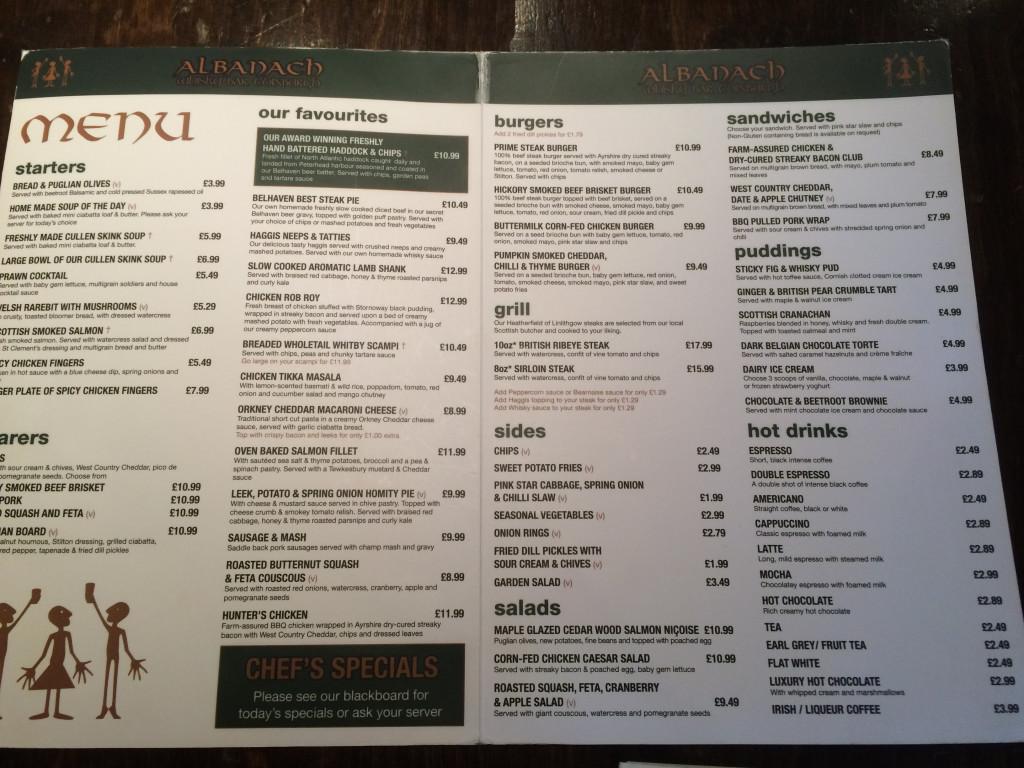 Ceny w szkockim pubie Albanach