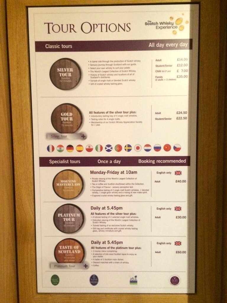 Opcje wycieczek w muzeum szkockiej whisky, czyli Scotch Whisky Experience.