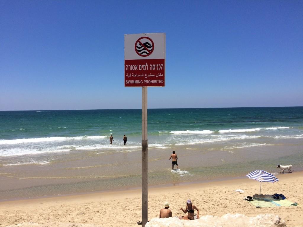 Liczne tabliczki na plaży informujące o teoretycznym zakazie kąpieli