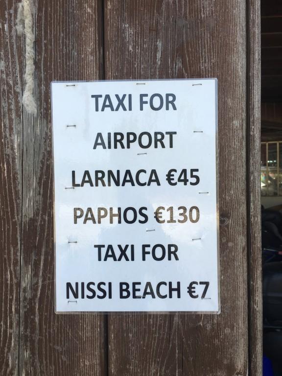 Ceny transportu taxi z Ayia Napa.