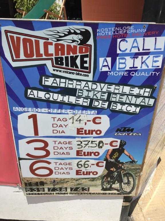 Ceny za wypożyczenie roweru w miejscowości Solana Matorral.
