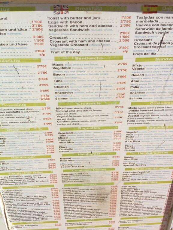 Ceny w jednym z barów w Solana Matorral.
